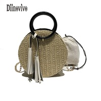 DIINOVIVO Knitting Tassel Women Shoulder Bags Top Handle Fashion Composite Bags High Quality Handbags Famous Brand