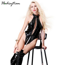Hodisytian Women Sexy Lingerie Latex Bodysuits Bandage Bodycon Teddy Costume Leather Playsuits Performance Clubwear