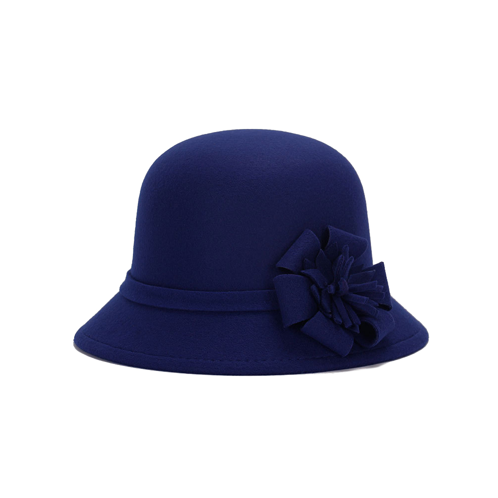 Vogue Для женщин флоппи цветы шляпа Имитация шерсти, с цветочным рисунком, на возраст от котелок шапка, сезон осень-зима; женские свадебные шляпы для принцессы держать femme Кепка с покрывалом - Цвет: dark blue
