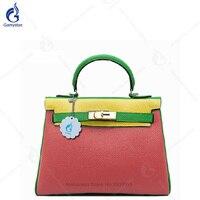 Того Кожа 100% пояса из натуральной кожи сумка панелями хит цвет розовый сумки для женщин кожаные сумочки дизайнер замок Tote классический брен