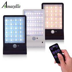 Outdoor Street Waterproof Wall Lights 450lm 48 LED Solar Power Street Light PIR Motion Sensor Light Garden Security Lamp