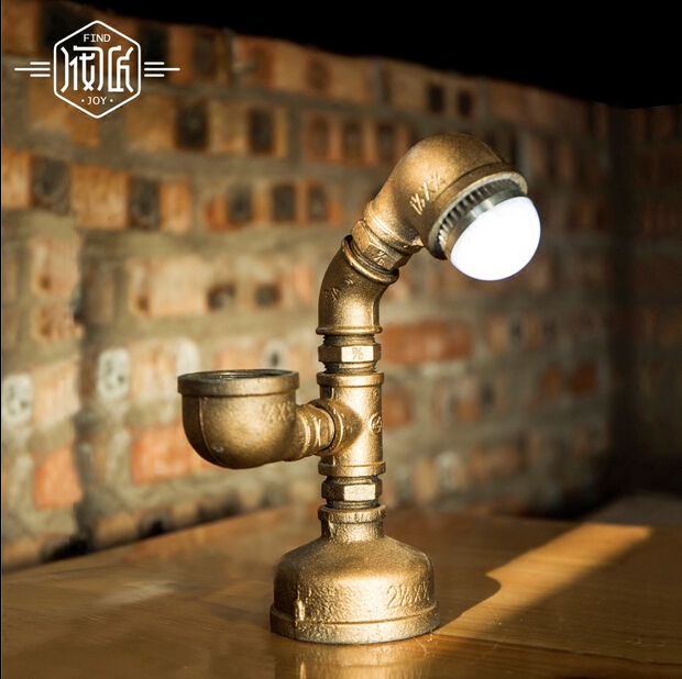 Retro Coffee Shop Table Lamp Iron Water Pipe Vintage Loft Style Desk Lamp For Crafts Cafe Study Room Bar Light Luminaria De Mesa loft retro coffee shop table lamp wood vintage desk lamp dimmable 40w edison bulb 220v bedroom bar table light desk light wooden