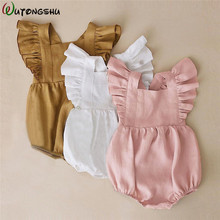 hot deal buy newborn baby girls rompers ruffle solid color baby girl clothes spring summer backcross jumpsuits outfits sunsuit baby clothing