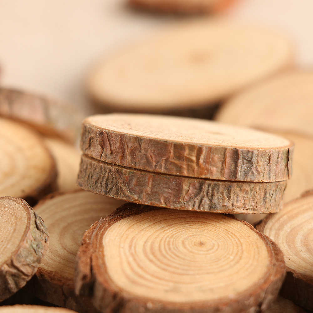 50Pcs/Set 2-4CM Wood Log Slices Discs for DIY Crafts Wedding Centerpieces Wood Decor