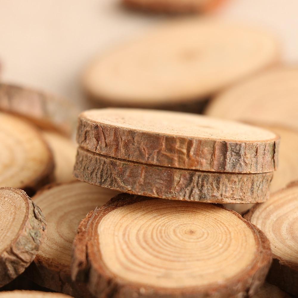 50Pcs/Set 2 4CM Wood Log Slices Discs For DIY Crafts