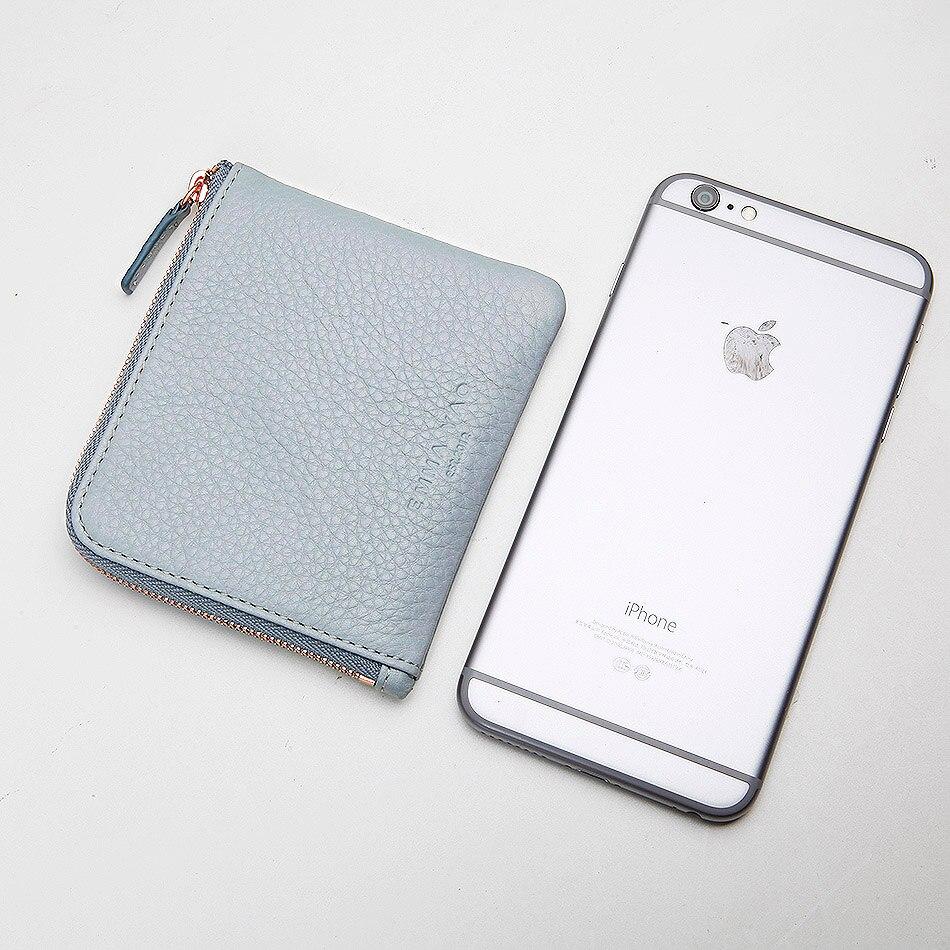 EMMA YAO leather wallet female small zipper wallet ultrathin fashion coin purses holders