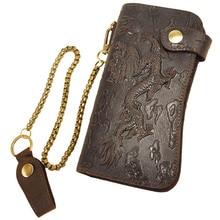 Neue creative echtes leder geldbörse herren clutch wallets cash dollar purse gutschrift id kartenhalter geldbörsen metallketten stil