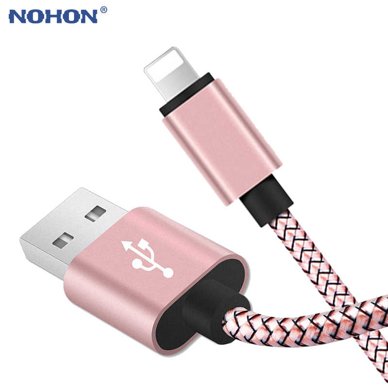 20cm 1m 2m 3m USB de datos Cable cargador para iPhone 6S 6 s 6 7 8 Plus Xs cable de cable largo de carga rápida de nailon para iPad Max XR X 10 5S