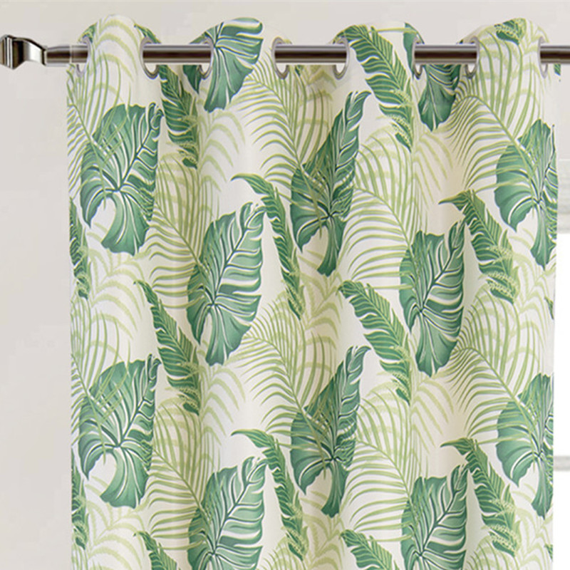 Cheap Price New Design American Style Green Leaf Curtains
