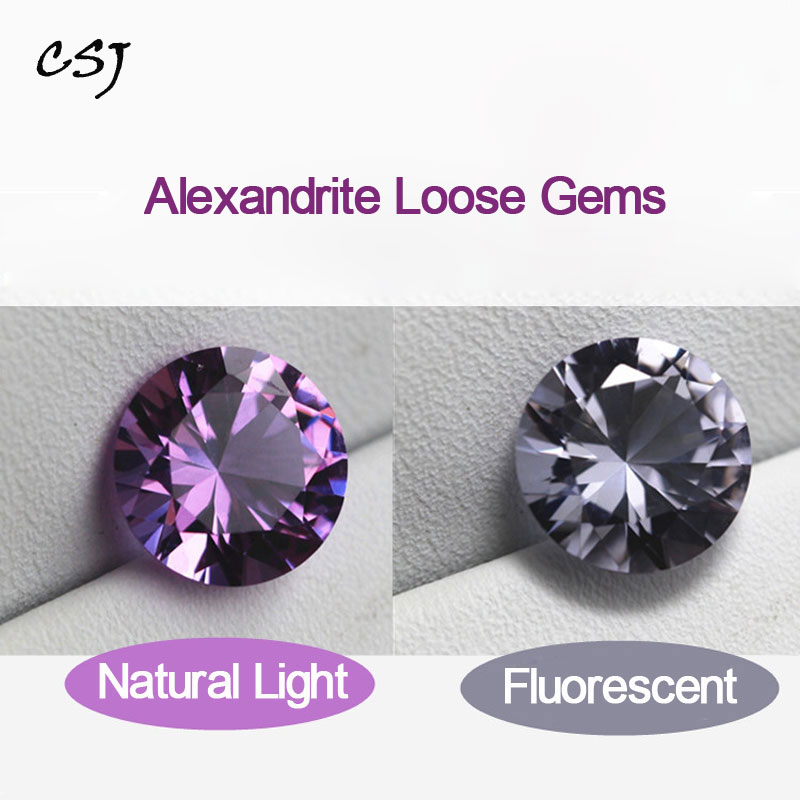 CSJ Created Alexandrite Loose Gemstone Round Cut For Diy Jewelry Silver Mounting Fine Cutting Faceted Bead Stone Color Change