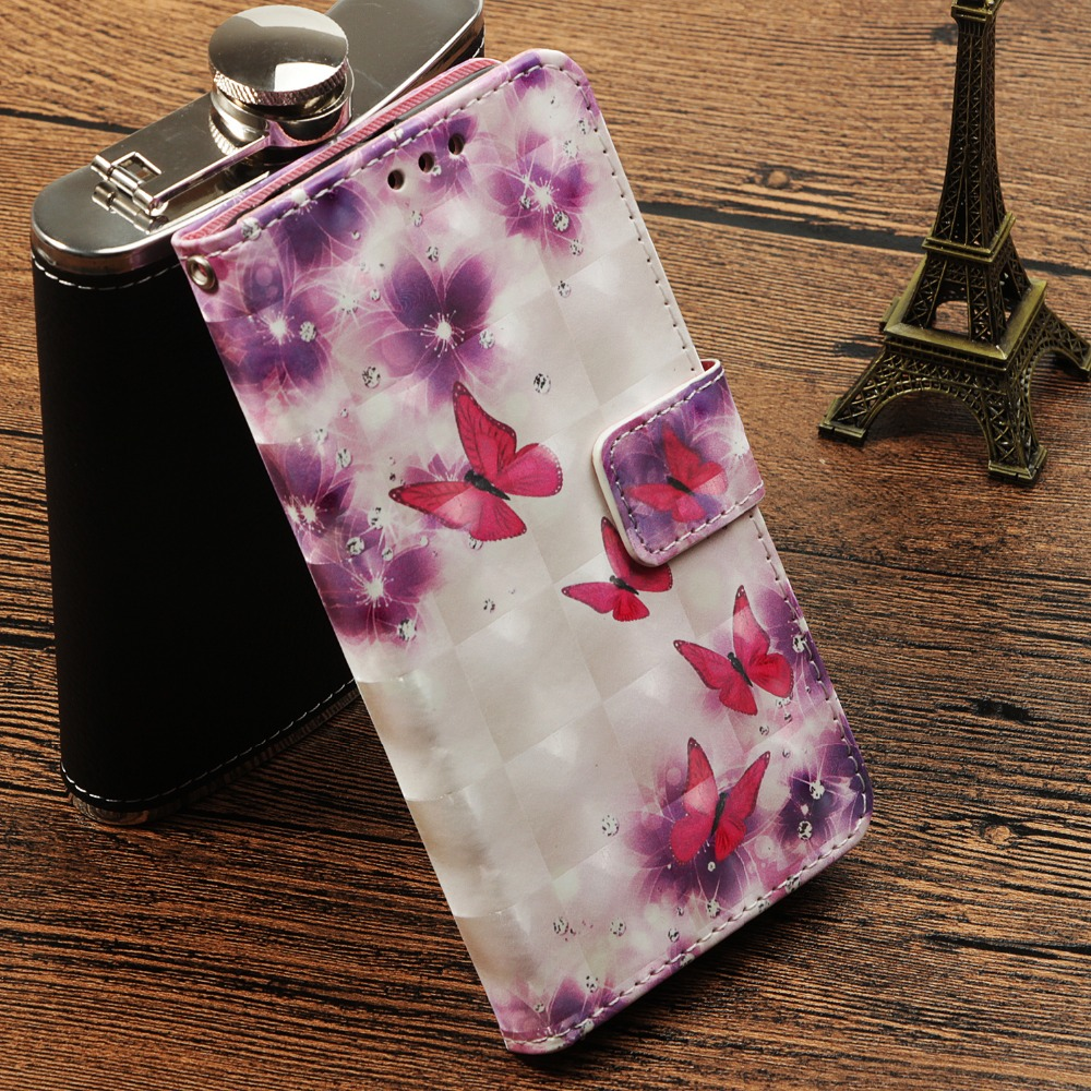 3D Painting Book Style pu Leather Flip Phone Case Cover with Wallet Card Slot Magnetic clasp For iPhone 6 6S Plus 7 8 Plus X