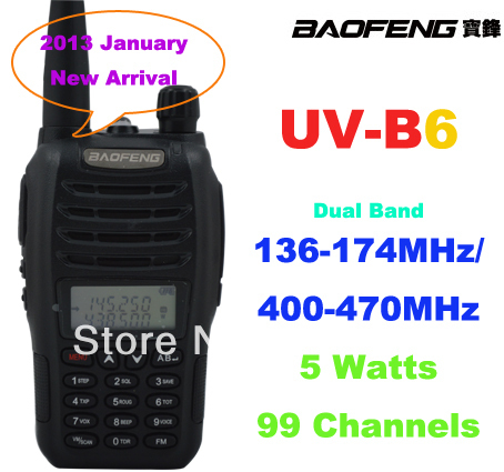 2013 January New Arrival Baofeng UV-B6 Dual Band VHF 136-174MHz & UHF 400-470MHz 5Watts 99 Channels FM Portable Two-way Radio