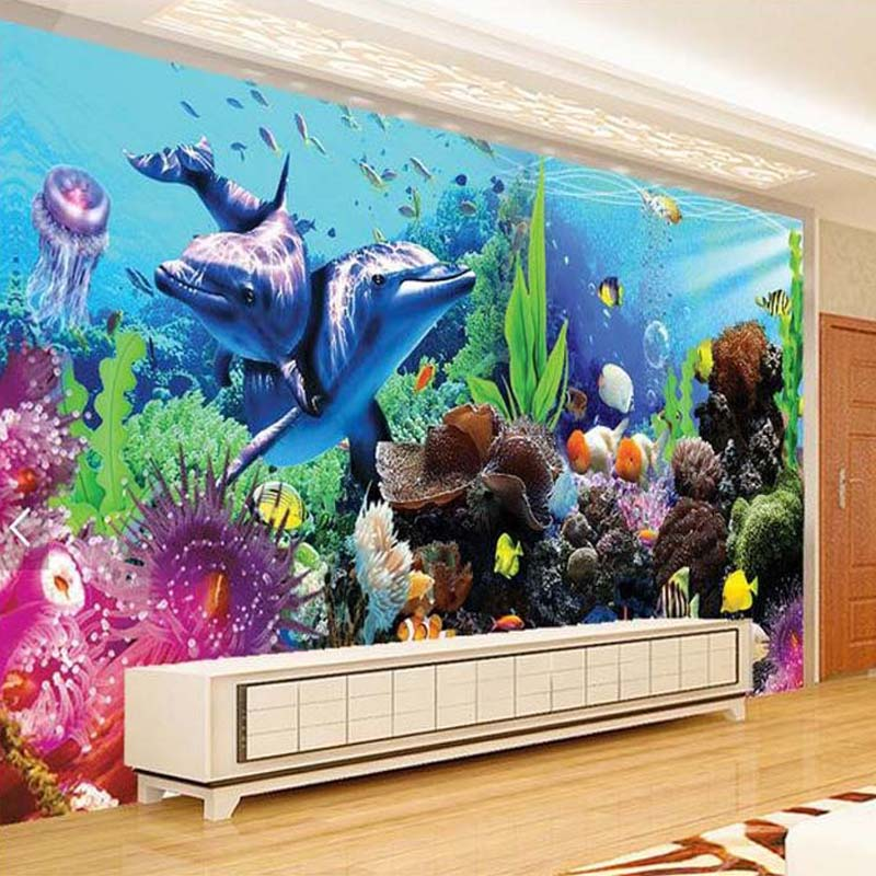Custom 3d undersea world dolphin coral wall mural for kids for 3d aquarium wallpaper for bedroom