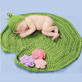 Bebé Del Ganchillo Aminal Beanie Sombreros Del Bebé Rana Con Lotus izquierda Fotografía complementos Disfraz Set Recién Nacido A Mano De Disparo establecido 2016
