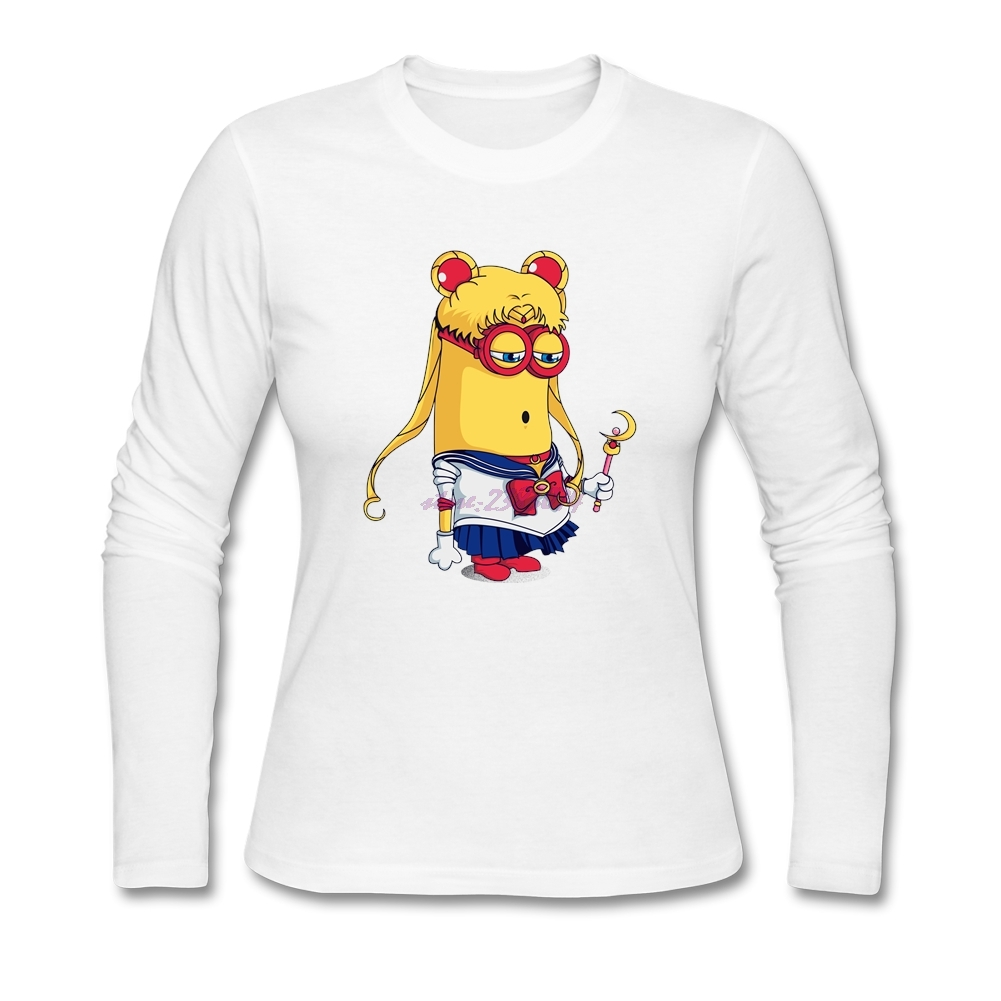 Design your own t-shirt for cheap price - Internationalization Woman Minimoon Cool T Shirts Ladies Cotton Full Sleeves Crew Neck Design Your Own T
