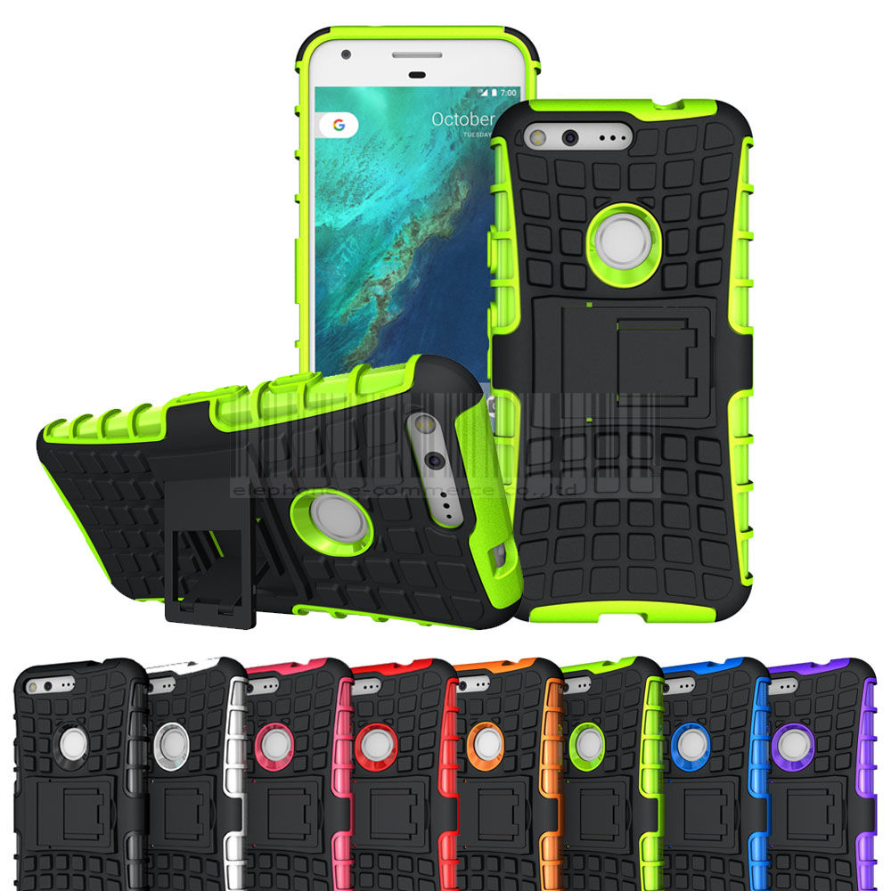 2 In 1 Silicone TPU+PC Hard Armor Case Phone Holder Stand Cover Heavy Duty Hybrid Shockproof Case For Google Pixel /XL @