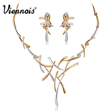 Hot Viennois Silver/Gold/Gun Color Metallic Earrings Statement Cross Jewelry Set for Women Punk Style Female Party Jewelry Sets