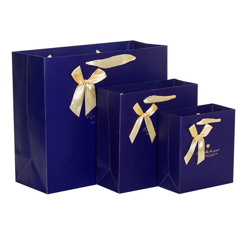 5PCS Blue Gift paper bag packaging shopping bag wedding birthday gift bag Flower Blue Ribbon bow 14*15*7cm 20*20*8cm 30*27*12cm