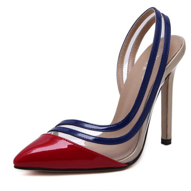 2017 New Fall fashion Woman Pumps Fight Color Transparent Film Sexy Pointed Toe Stiletto Pumps High heels Plus Size Party Shoes
