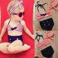 3PCS Toddler Kids Baby Girls Clothes Set Swimsuit Swimwear Striped Bathing Suit Tankini Bikini Set Headband Clothing