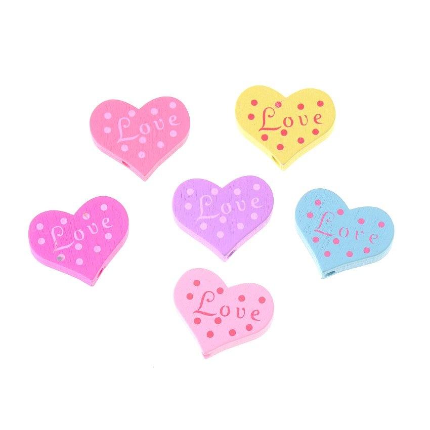 20pcs Wood Beads Love Heart Styles Beading Wood Beads Toys ...