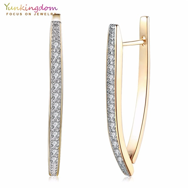 Cubic Zirconia Geometric Gold Color Hoop Earrings For Women