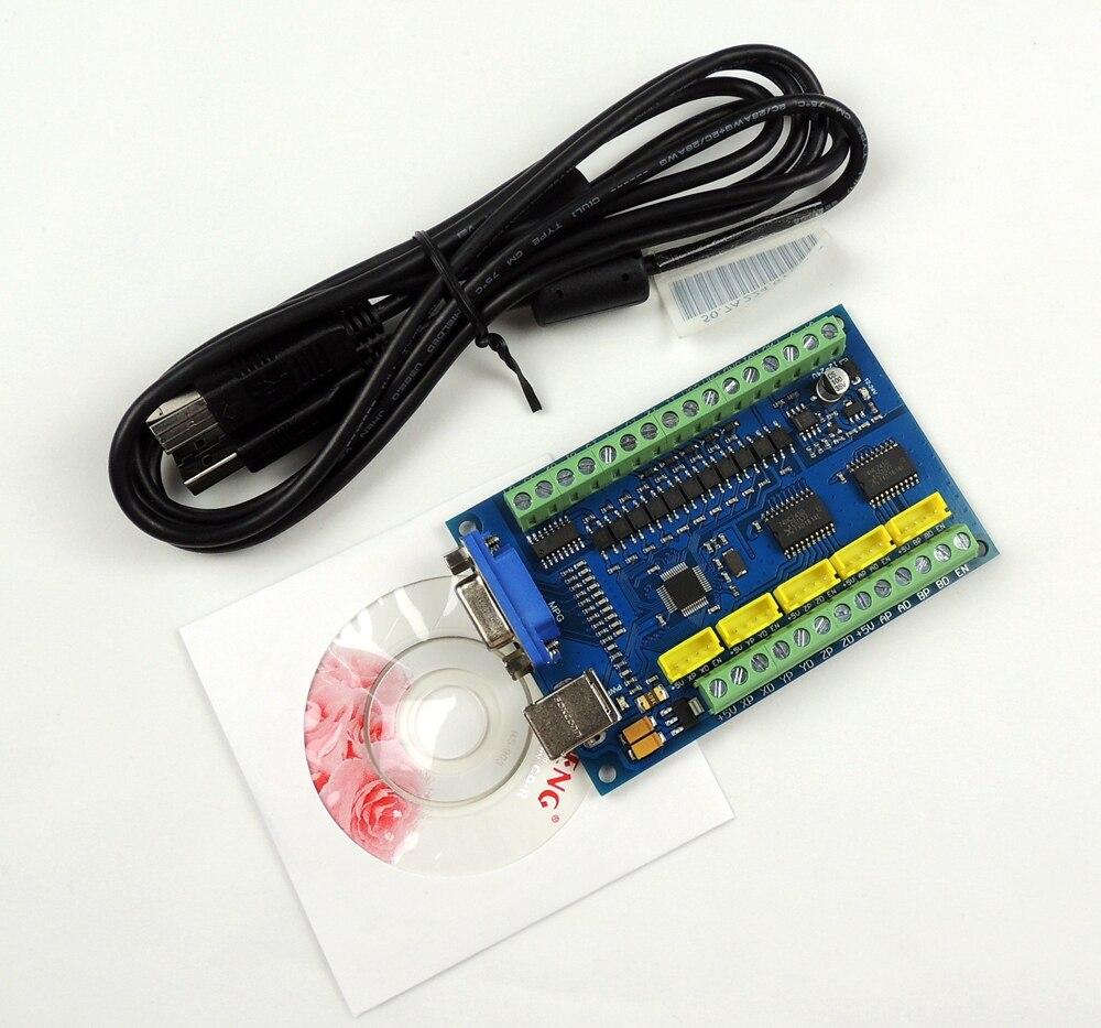 Atualização cnc mach3 usb 5 eixos 100 khz usbcnc suave stepper placa de fuga do cartão controlador de movimento para cnc gravura 12-24 v
