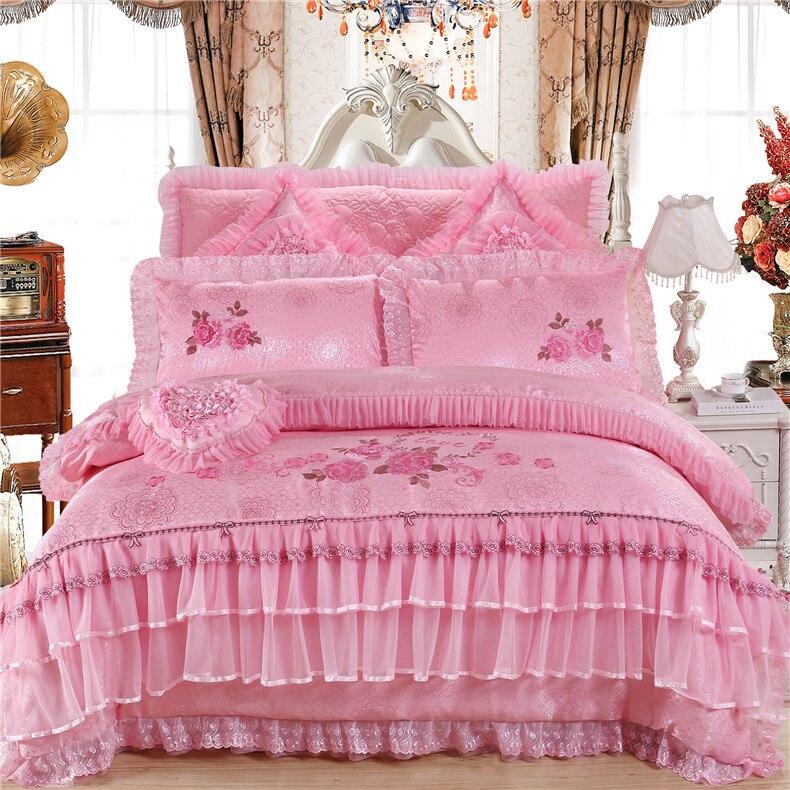 boda romntica de algodn jacquard de seda de lujo juego de cama king size queen