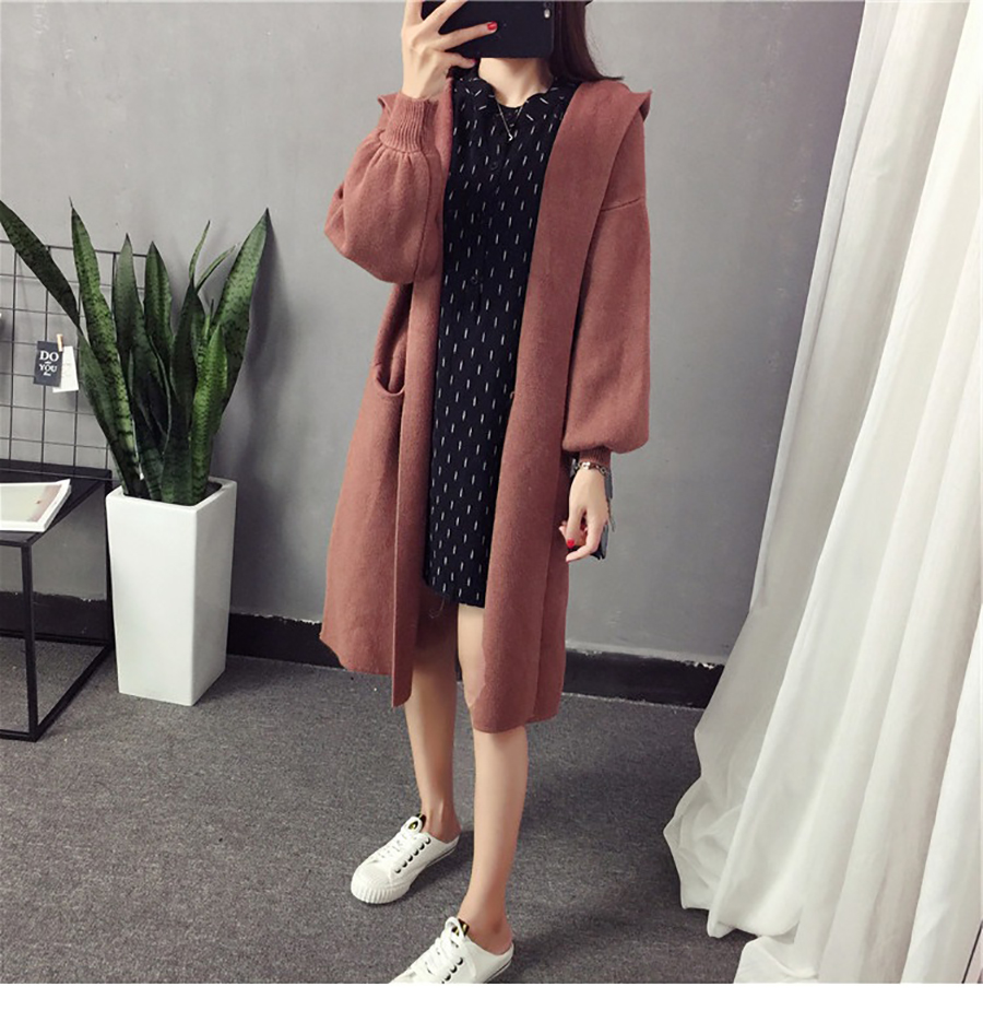 Autumn Winter Women Long Cardigans Hooded Sweaters Casual Knitted Outwear Puff Sleeves for Fashion Girls Female Warm Clothing (12)