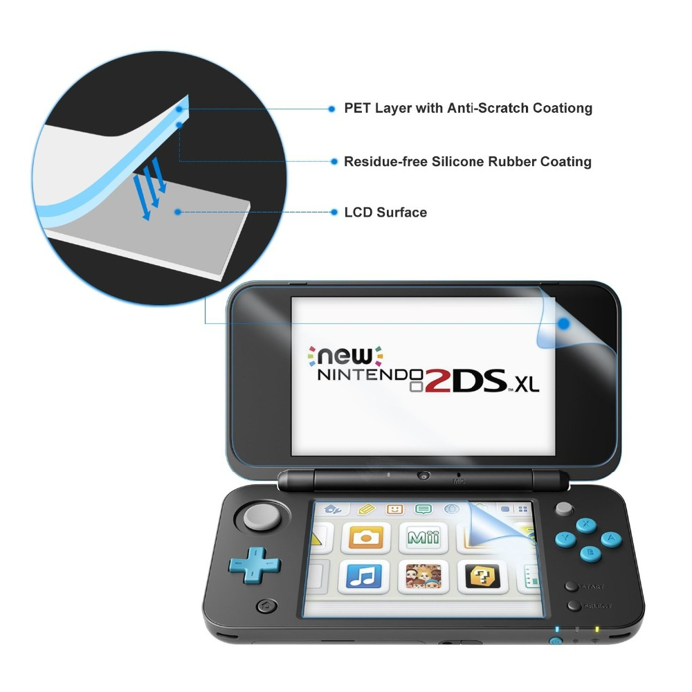 Купить с кэшбэком Nintend New 2DS XL Silicone Rubber Soft sleeve Skin Cover Case Protector For Nintendo New 2DS XL/LL With Screen Protector Film