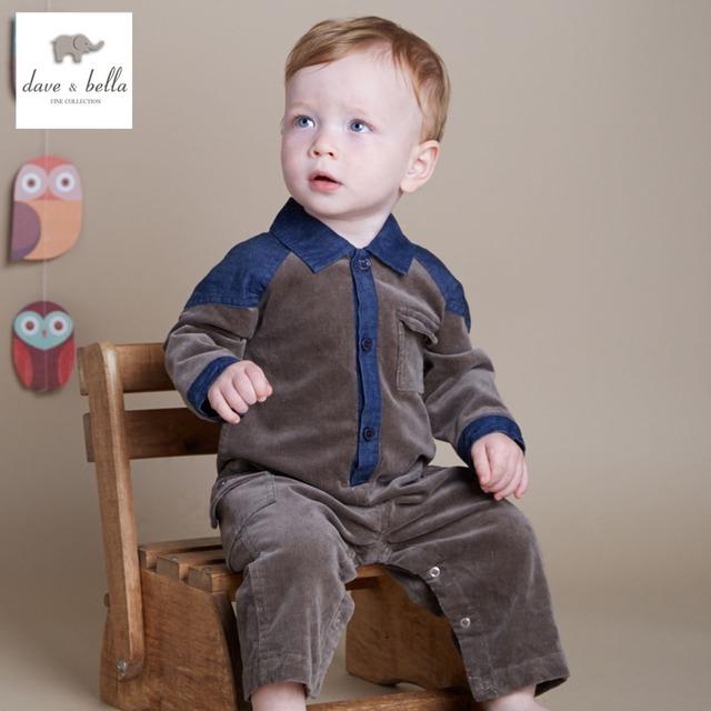 DB2311 dave bella primavera outono meninos bebê romper roupas infantis romper baby one-piece romper do bebê da alta qualidade