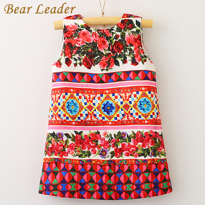 Bear Leader Girls Dress 2017 Brand Design for Princess Dress Sleeveless Rose Floral Printing for Girls Clothes 3-7years Dresses bear leader girls dress 2016 brand princess dress kids clothes sleeveless red rose print design for grils more style clothes