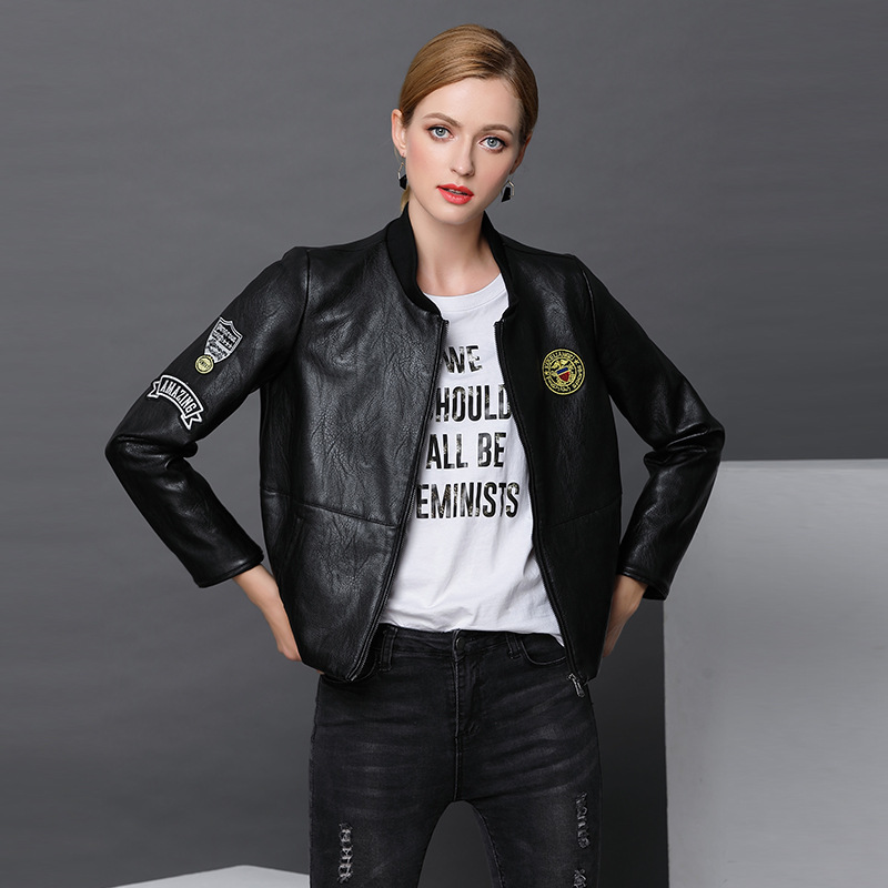 New   Suede   Sheep Women Faux   Leather   Jacket Female Patch Bomber Motorcycle Baseball Pilot Chaqueta Mujer Biker Veste Coat Boutique
