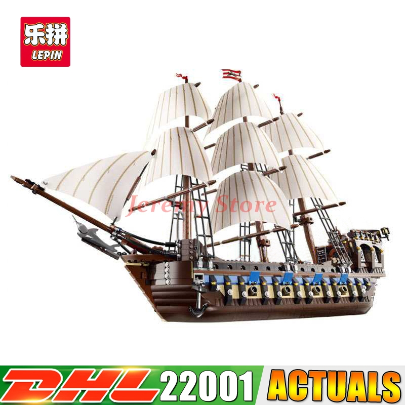 2018 DHL LEPIN 22001 Pirate Ship warships Model Building Kits Block Briks Toys Gift 1717pcs Compatible 10210 lepin 22001 pirates series the imperial war ship model building kits blocks bricks toys gifts for kids 1717pcs compatible 10210