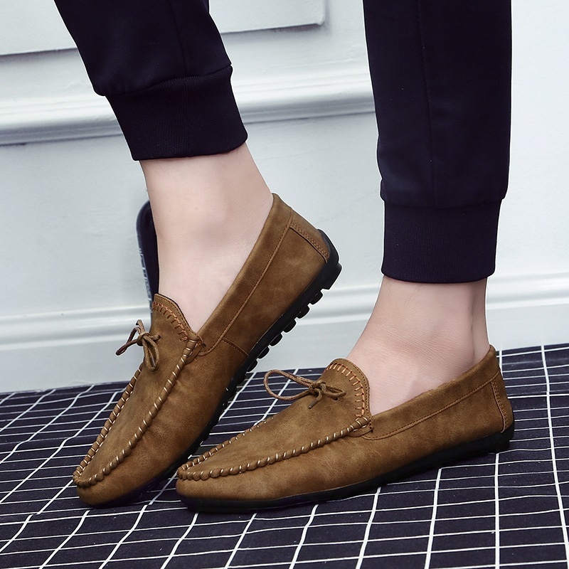 Casual Loafers Shoes Retro Comfy Slip Spring Flat Soft Solid for Men Concise Leisure