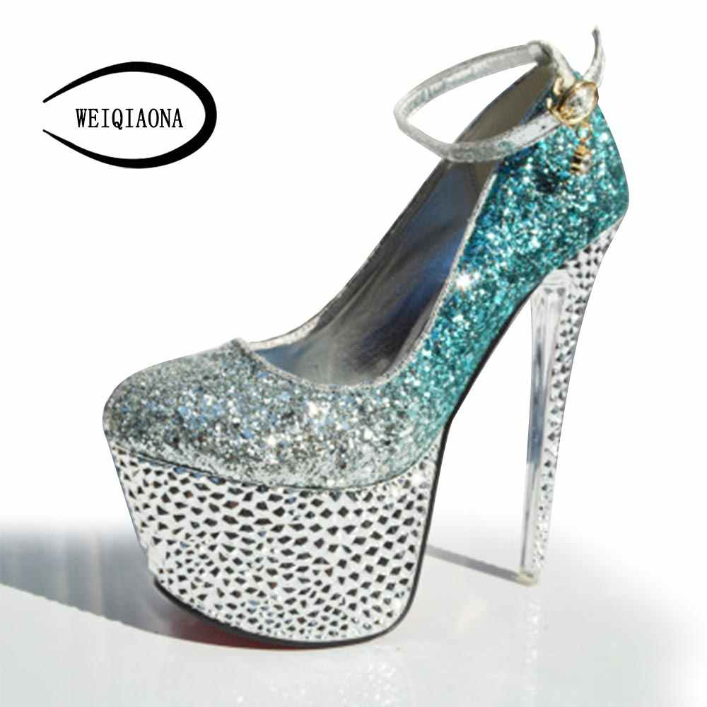 0d63794dce9a ... WEIQIAONA Sexy goddess banquet nightclub fashion high heels sequins  diamond buckle single shoes Rainbow color Stage ...