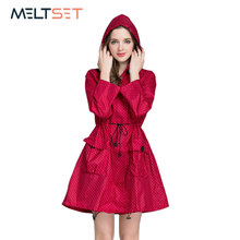 Fashion Women Raincoat Waterproof Trench Coat Motorcycle Rainwear Windbreaker Rain Jacket Hoodie Bicycle Outdoor Rain Poncho(China)