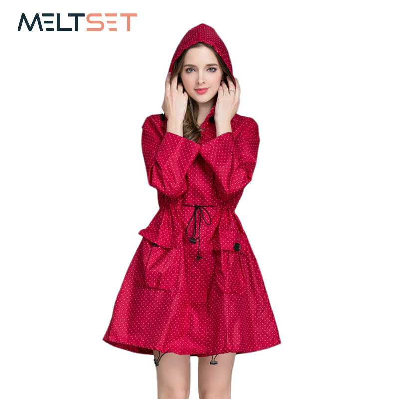 Fashion Women Raincoat Waterproof Trench Coat Motorcycle Rainwear Windbreaker Rain Jacke ...