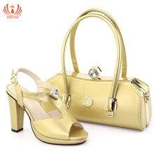 Новая мода золотистого цвета Женский комплект из туфель и Комплект с сумочкой в тон в африканском стиле Стиль обувь на высоком каблуке и сумочка в африканском стиле для Weddi вечерние размер 38–43