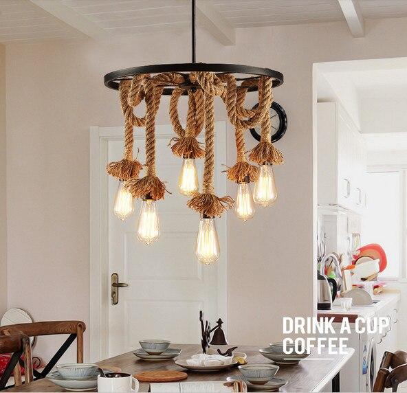 American retro wrought iron hemp rope pendant lights round Wheel iron ceiling lamp E27 with Edison Bulbs for Cafe restaurant bar