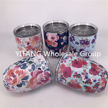 12OZ Egg Shapped Mug Swig Floral Wine Cups Flower Stainless Steel Tumbler Insulated Thermos Cup Travel Coffee Beer