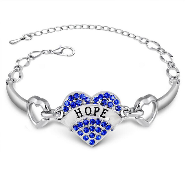 Diy Hope Letters Bracelets Women Silver Crystal Rhinestone Heart Charm Bracelet Best Friend Gift Anchor