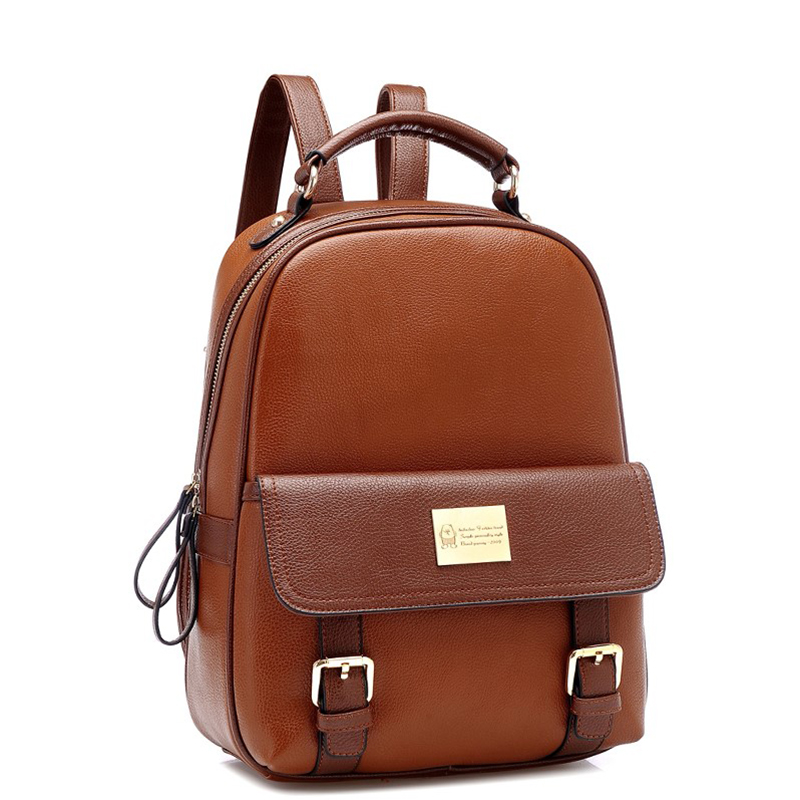 High Quality PU Leather Backpack Women Large Capacity Travel Portable Shoulder Bags Girl Preppy Style School Bag New Backpacks new arrival vintage men pu leather backpacks large capacity zipper solid backpack for teenagers high quality black shoulder bags