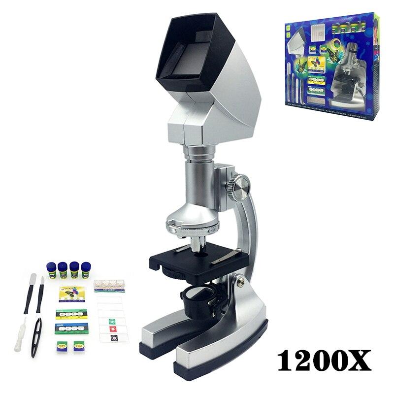 1200X Zoom monoculaire étudiants enfants Kit de Microscope biologique avec des expériences scientifiques projecteur LED jouet éducatif cadeau
