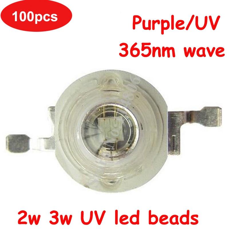 High Power 100pcs 45mil 2W 3W 600-700mA UV Ultraviolet Purple 365nm LED Light Beads
