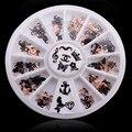 Latest 240pcs/Box 12 Shapes  Metal Christmas Nail Art 3D Decoration Slice Black Nail Stickers Decal Foil Wheel