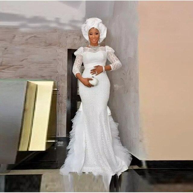 vestido de noiva 2017 africana del cordón blanco de la sirena