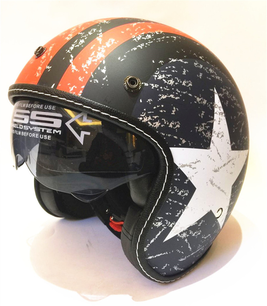 free shipping 2017 new casco capacetes motorcycle helmet retro vintage motocross helmet 3 4 open face scooter helmets S L XL XXL in Helmets from Automobiles Motorcycles