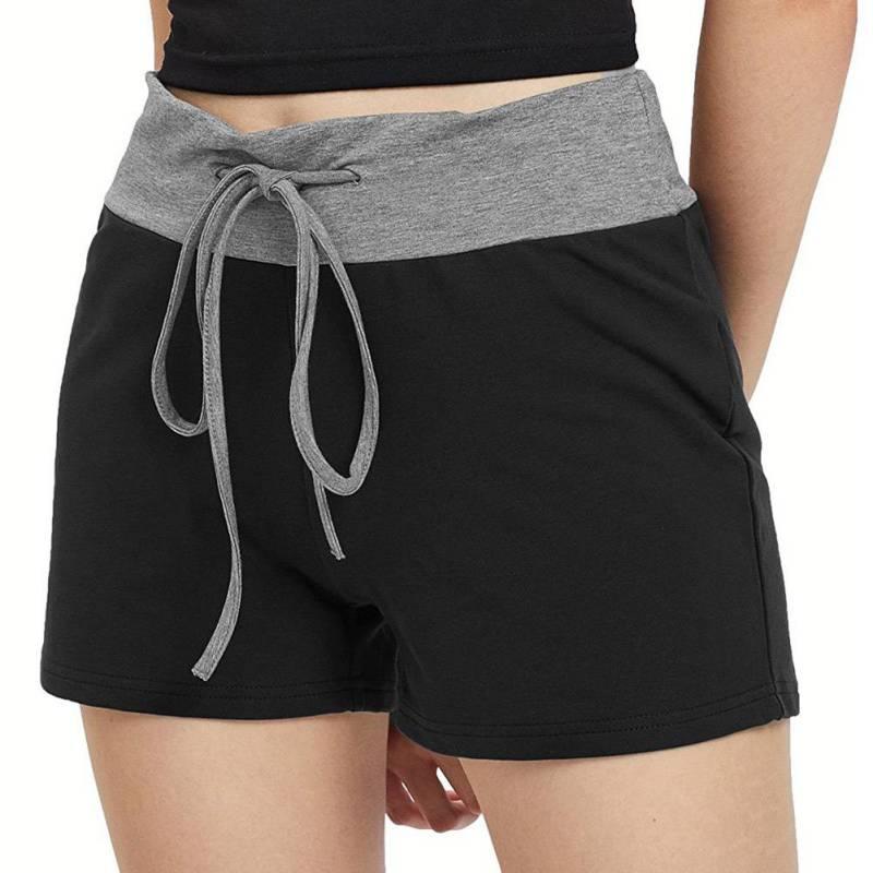 Hot Short Pants Women Patchwork Drawstring Shorts Elastic Waist Slim Female Casual Comfy Home Fitness Sporting Jogger Wear