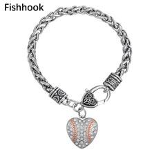 fishhook Sports reail center I heart (love) softball baseball crystals bracelet baseball softball jewelry for women